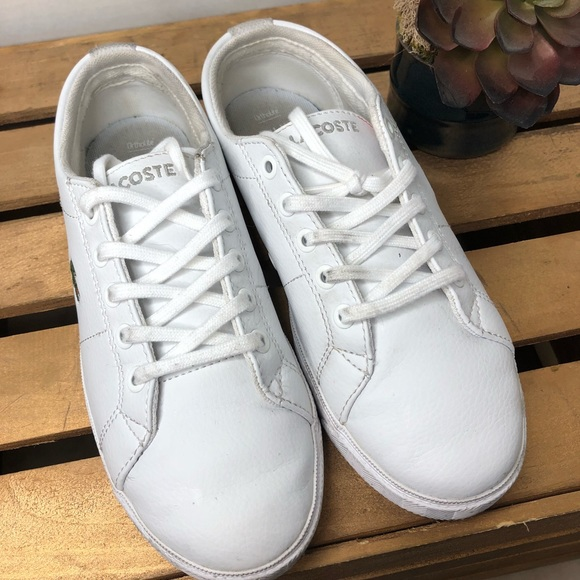 5d58a6d470 Lacoste boys white shoes sneakers size 2.5 leather